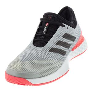 Men`s Adizero Ubersonic 3 Tennis Shoes Matte Silver and Black