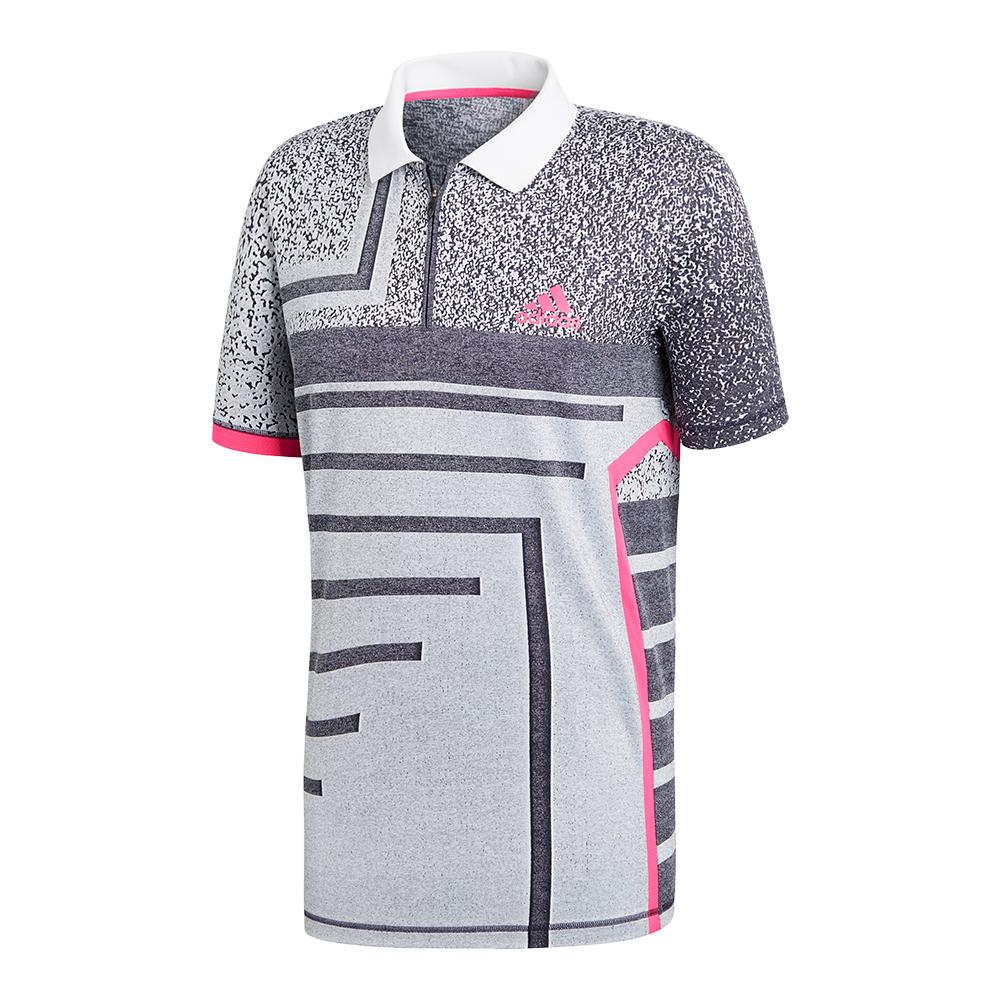 Men's Seasonal Tennis Polo White And Shock Pink