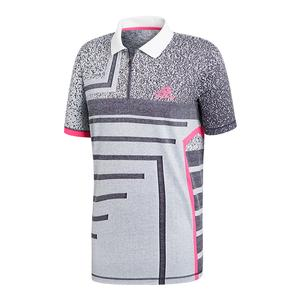 Men`s Seasonal Tennis Polo White and Shock Pink