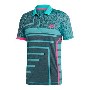 Men`s Seasonal Tennis Polo Legend Ink and Hi-Res Aqua