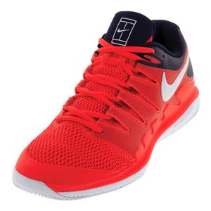 Men`s Air Zoom Vapor X Tennis Shoes Bright Crimson and White