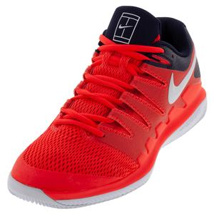Juniors` Air Zoom Vapor X Tennis Shoes Bright Crimson and White