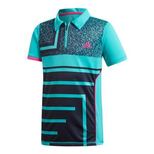 Boys` Seasonal Tennis Polo Hi-Res Aqua