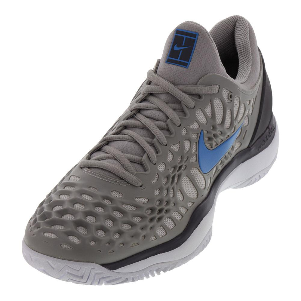 Men's Zoom Cage 3 Tennis Shoes Atmosphere Gray And Photo Blue