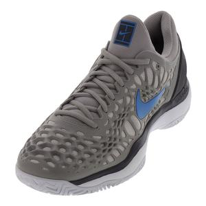 Men`s Zoom Cage 3 Tennis Shoes Atmosphere Gray and Photo Blue