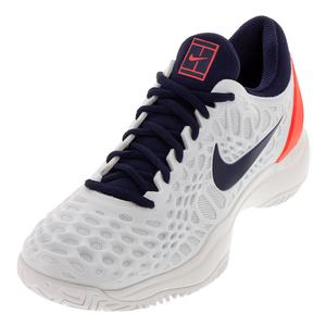 Men`s Zoom Cage 3 Tennis Shoes White and Blackened Blue