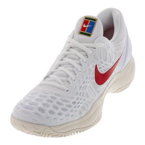 Men`s Zoom Cage 3 Tennis Shoes White and University Red