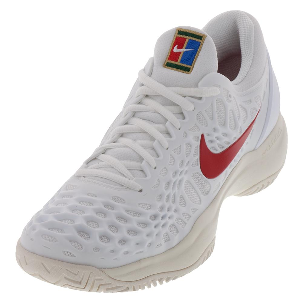 Juniors ` Zoom Cage 3 Tennis Shoes White And University Red
