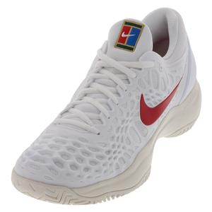Juniors` Zoom Cage 3 Tennis Shoes White and University Red