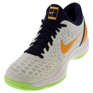 Men`s Zoom Cage 3 Tennis Shoes White and Orange Peel
