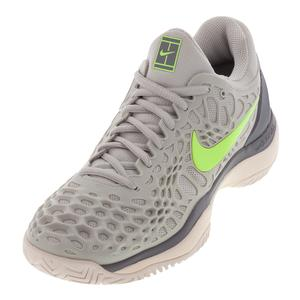 Women`s Zoom Cage 3 Tennis Shoes Vast Gray and Volt Glow