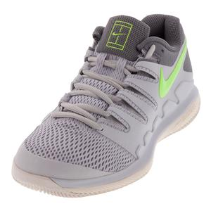Women`s Zoom Vapor X Tennis Shoes Vast Gray and Volt Glow