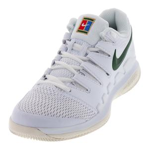 Women`s Zoom Vapor X Tennis Shoes White and Gorge Green