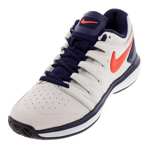 Men`s Air Zoom Prestige Leather Tennis Shoes Phantom and Bright Crimson
