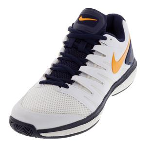 Men`s Air Zoom Prestige Tennis Shoes White and Orange Peel