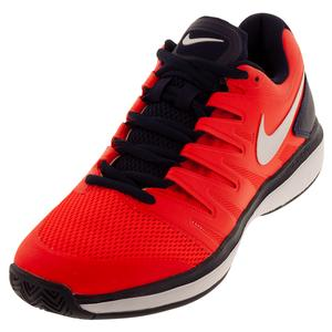 Men`s Air Zoom Prestige Tennis Shoes Bright Crimson and White