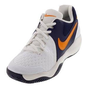 Men`s Air Zoom Resistance Tennis Shoes White and Orange Peel