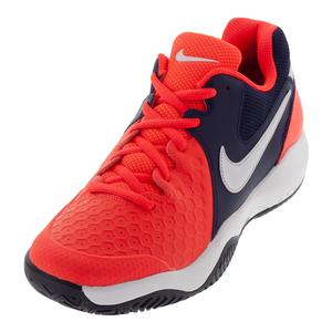 Men`s Air Zoom Resistance Tennis Shoes Bright Crimson and White