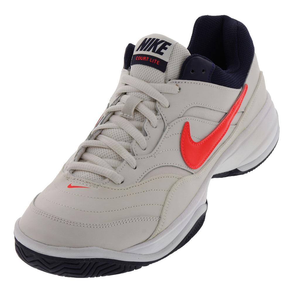 Men's Court Lite Tennis Shoes Phantom And Bright Crimson