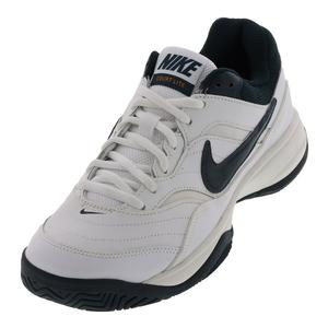 Men`s Court Lite Tennis Shoes White and Blackened Blue