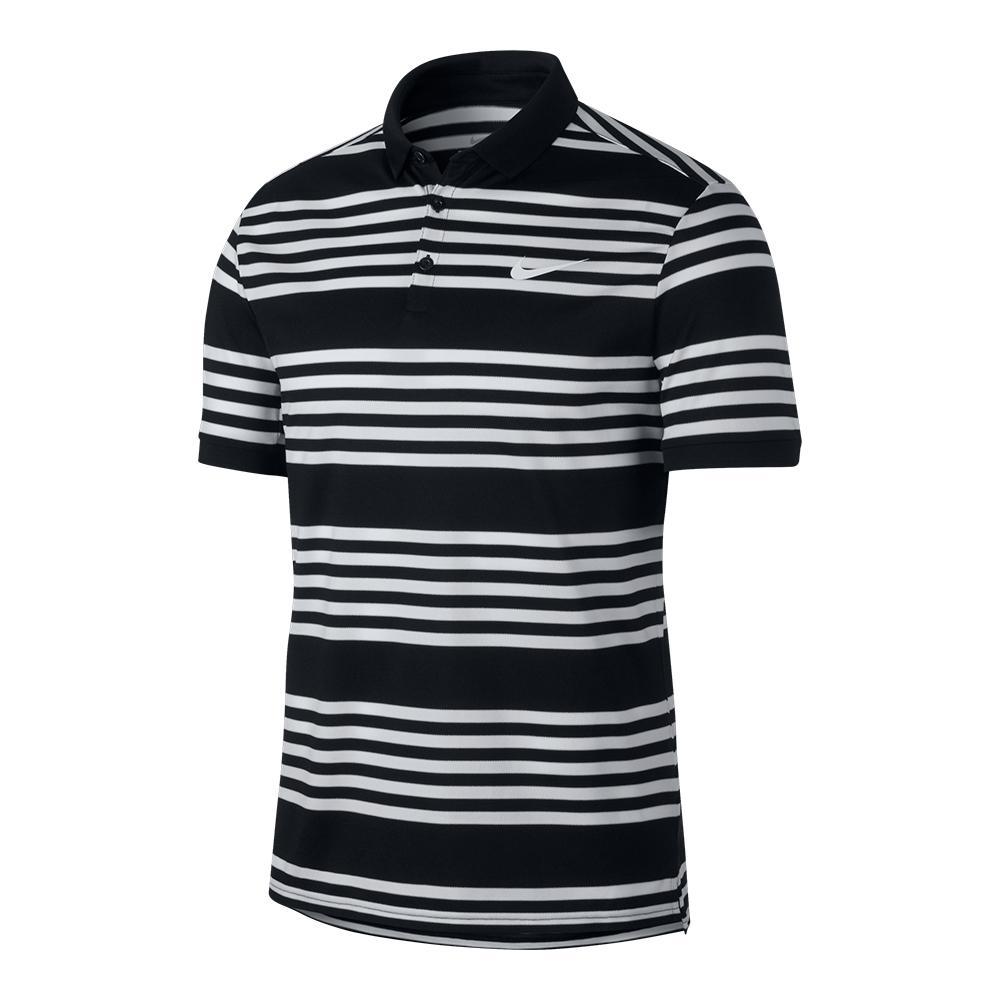 Men's Court Dry Stripe Tennis Polo Black And White