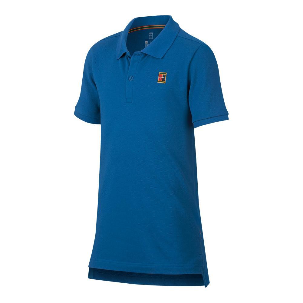 Boys ` Court Heritage Tennis Polo Military Blue