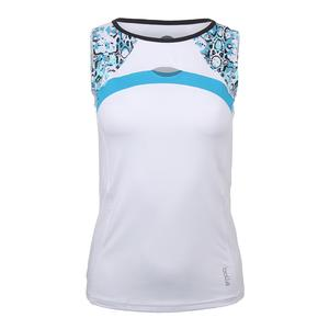 Women`s Indigo Splash Tennis Tank White
