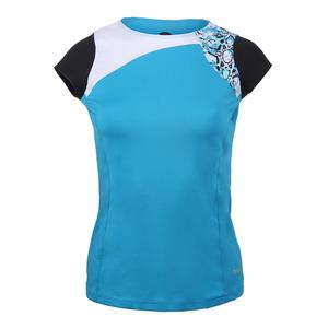Women`s Indigo Splash Cap Sleeve Tennis Top Ocean