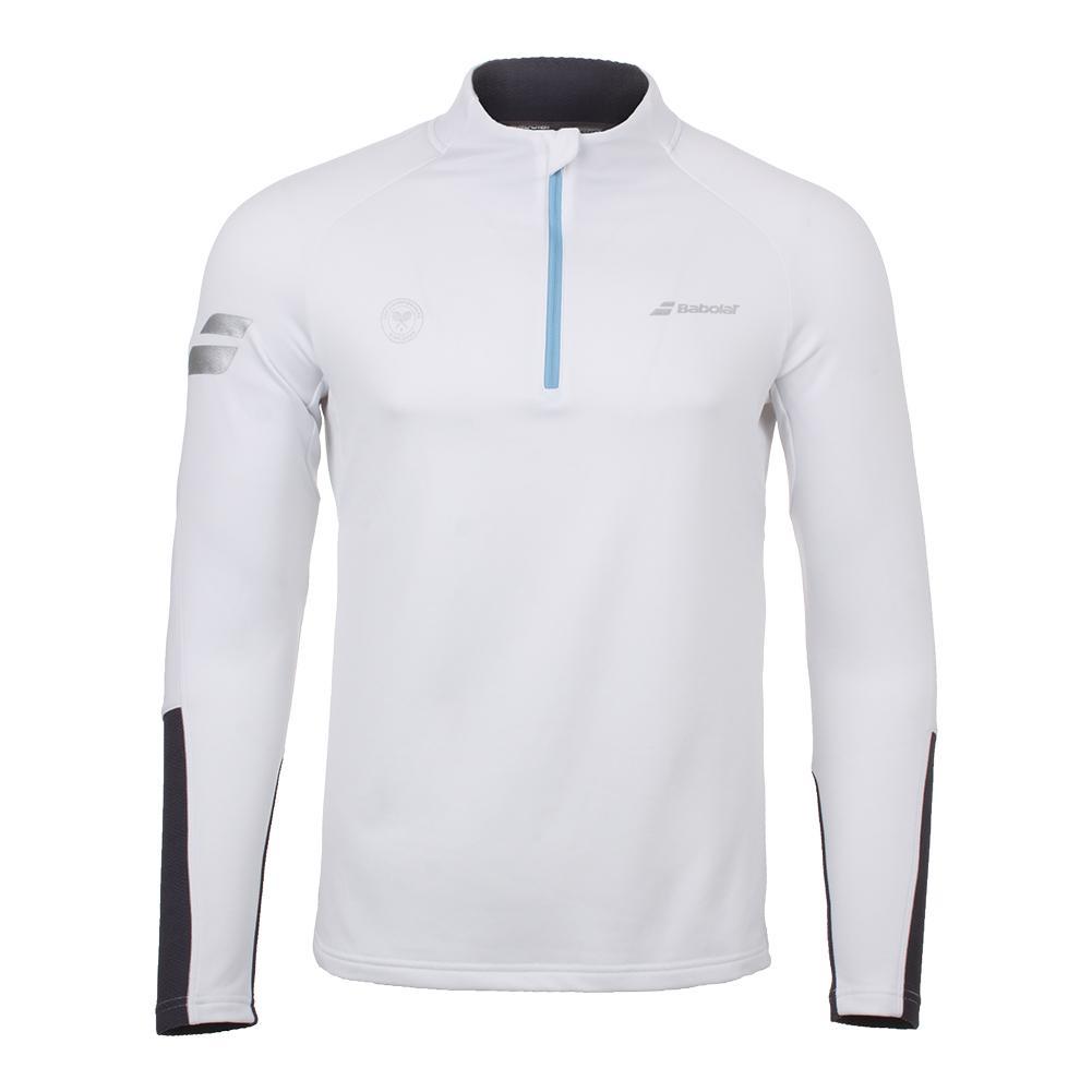 Men's Wimbledon Performance 1/2 Zip Tennis Sweatshirt White