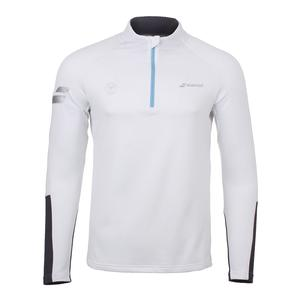 Men`s Wimbledon Performance 1/2 Zip Tennis Sweatshirt White