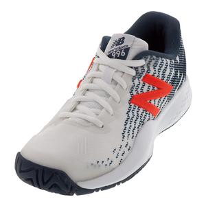 Juniors` 996v3 Tennis Shoes White and Petrol