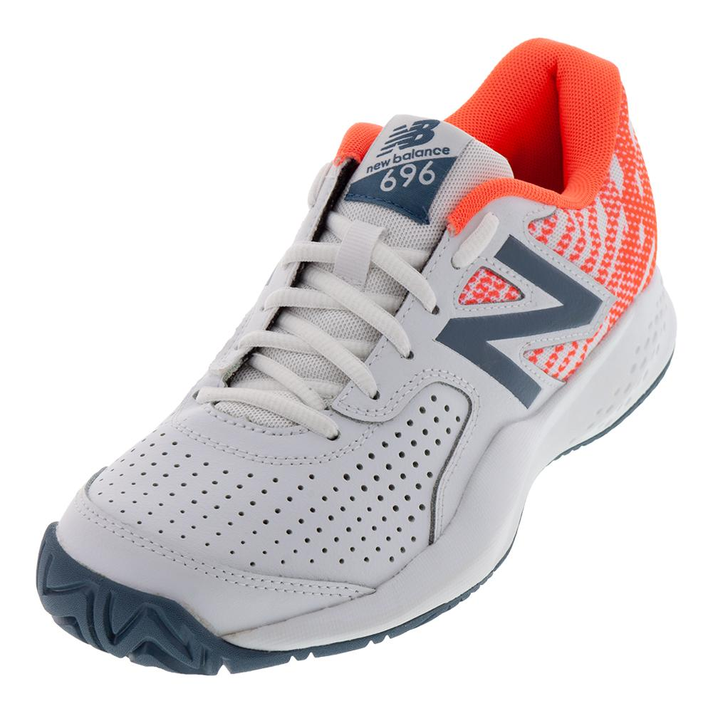 Women's 696v3 B Width Tennis Shoes White And Dragonfly