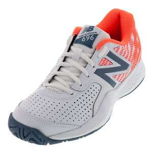 Women`s 696v3 B Width Tennis Shoes White and Dragonfly