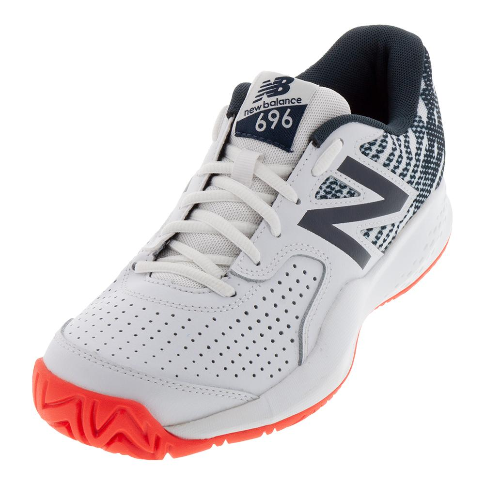 Men's 696v3 D Width Tennis Shoes White And Petrol