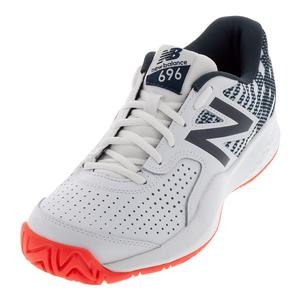 Men`s 696v3 D Width Tennis Shoes White and Petrol