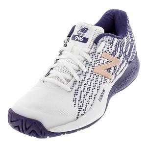 Women`s 996v3 D Width Tennis Shoes White and Wild Indigo