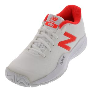 Women`s 996v3 B Width Tennis Shoes White and Flame