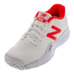 Women`s 996v3 D Width Tennis Shoes White and Flame