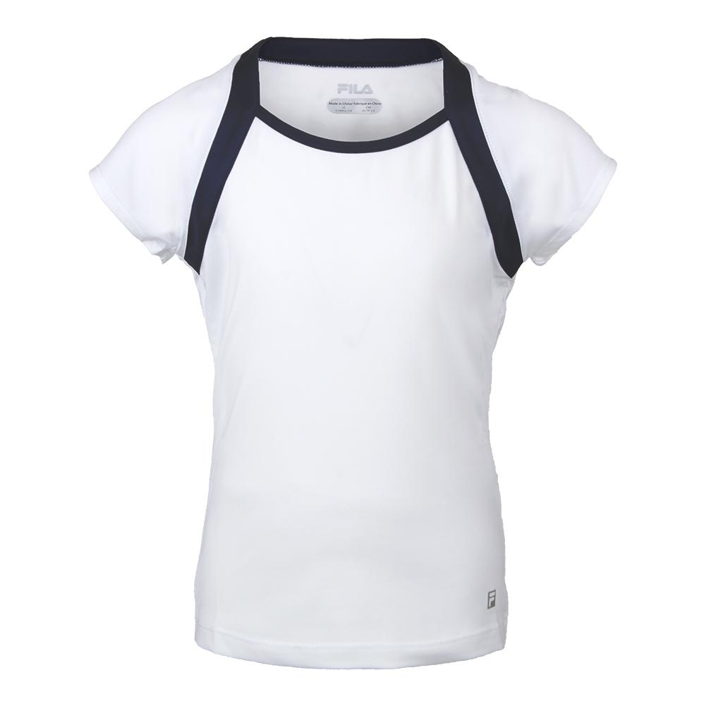 Girls ` Cap Sleeve Tennis Top White And Navy