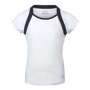 Girls` Cap Sleeve Tennis Top White and Navy