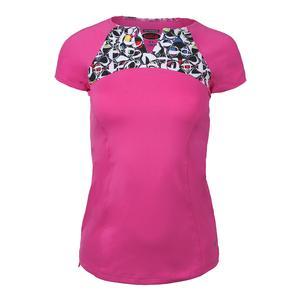 Women`s Pop Art Cap Sleeve Tennis Top Spark Pink