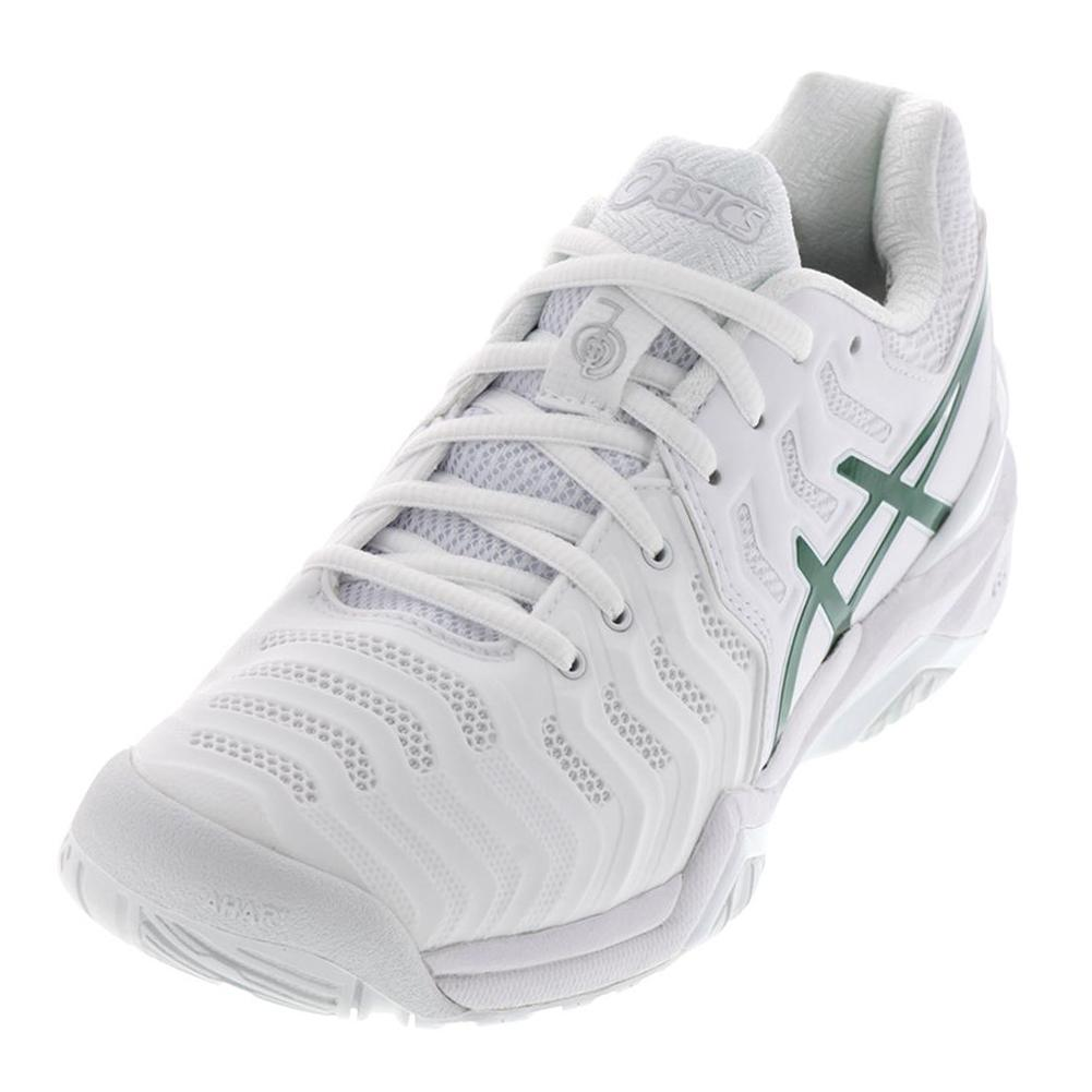 Mens Gel- Resolution 7 Novak Djokovic Tennis Shoes White And Green
