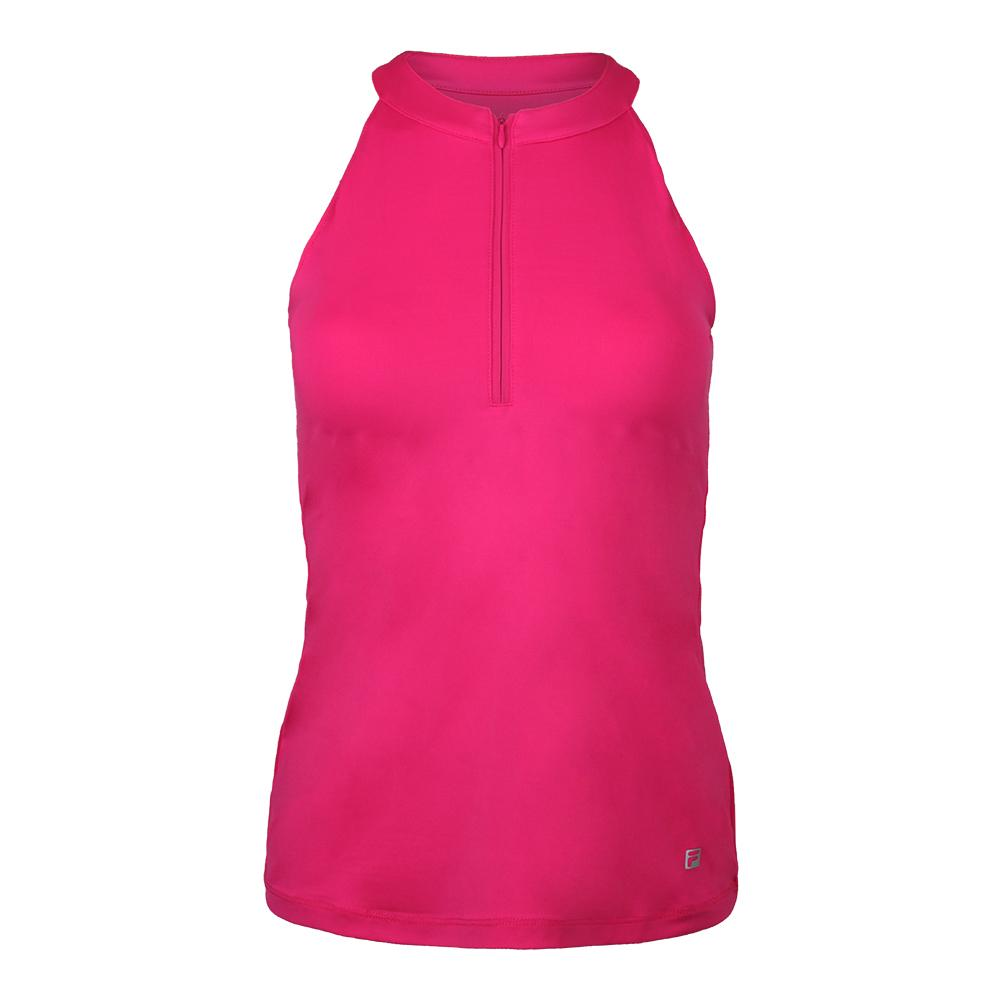Women's Fundamental Halter Tennis Tank Raspberry Rose
