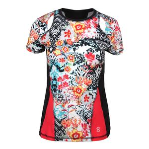 Women`s Dynamic Short Sleeve Tennis Top Victoria Print