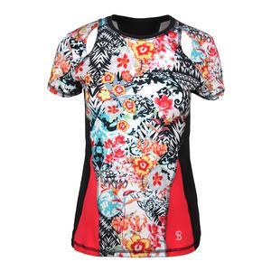 Women`s Dynamic Short Sleeve Tennis Top Victoria Print