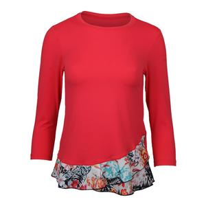 Women`s Bliss 3/4 Sleeve Tennis Top Coral