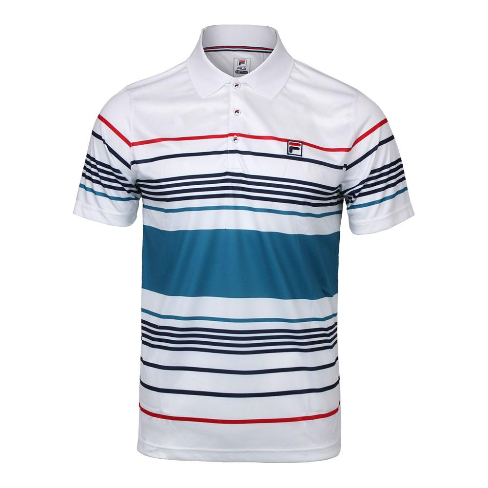 174b38c4 Men`s Heritage Striped Tennis Polo 101_WHITE/TURK_TILE ...