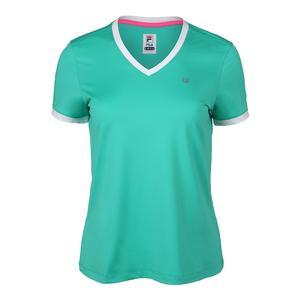 Women`s Windowpane V Neck Tennis Top Atlantis