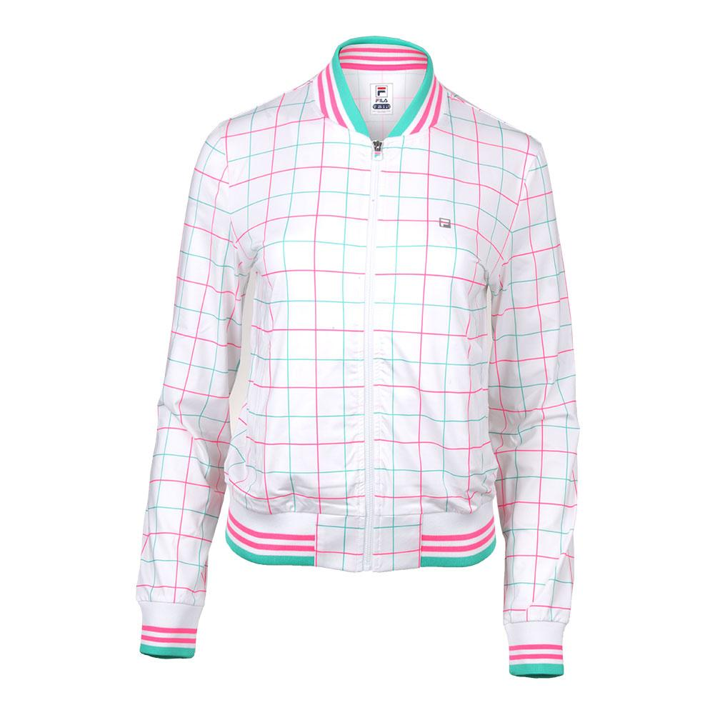 Women's Windowpane Tennis Jacket White Print