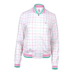 Women`s Windowpane Tennis Jacket White Print